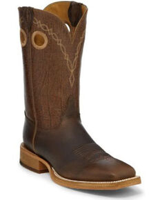 Justin Men's Grizzly Brown Western Boots - Wide Square Toe, Brown, hi-res