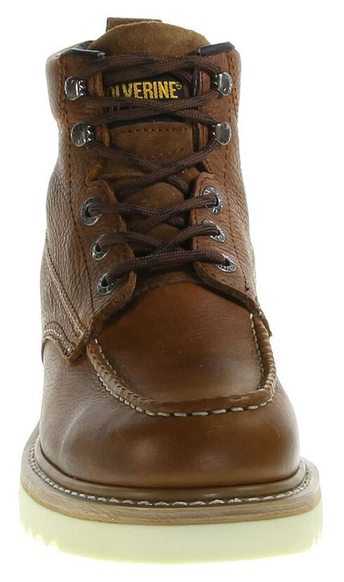 "Wolverine 6"" Lace-Up Wedge Work Boots - Round Toe, Brown, hi-res"