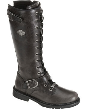 "Harley-Davidson Women's Jill 13"" Lace-Up Motorcycle Boots, Black, hi-res"