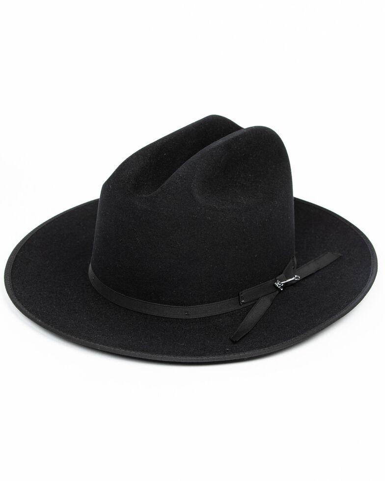 Stetson Men's 6X Open Road Fur Felt Western Hat, Black, hi-res