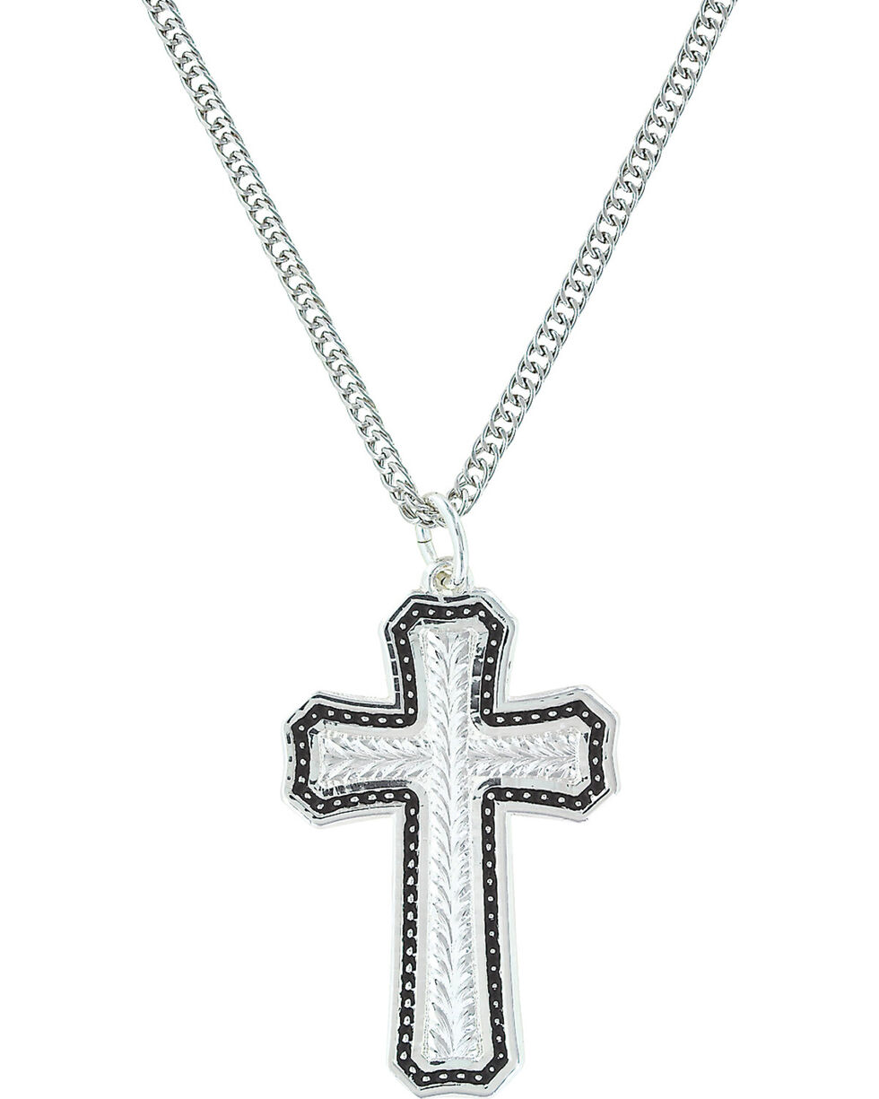 Montana Silversmiths Women's Pinpoints & Wheat Cross Necklace , Silver, hi-res