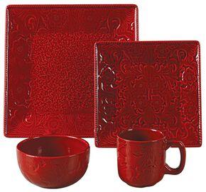 HiEnd Accents Savannah Red Dinnerware Set, Red, hi-res