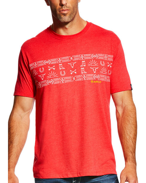 Ariat Men's Red Native Stripe Short Sleeve Tee , Red, hi-res