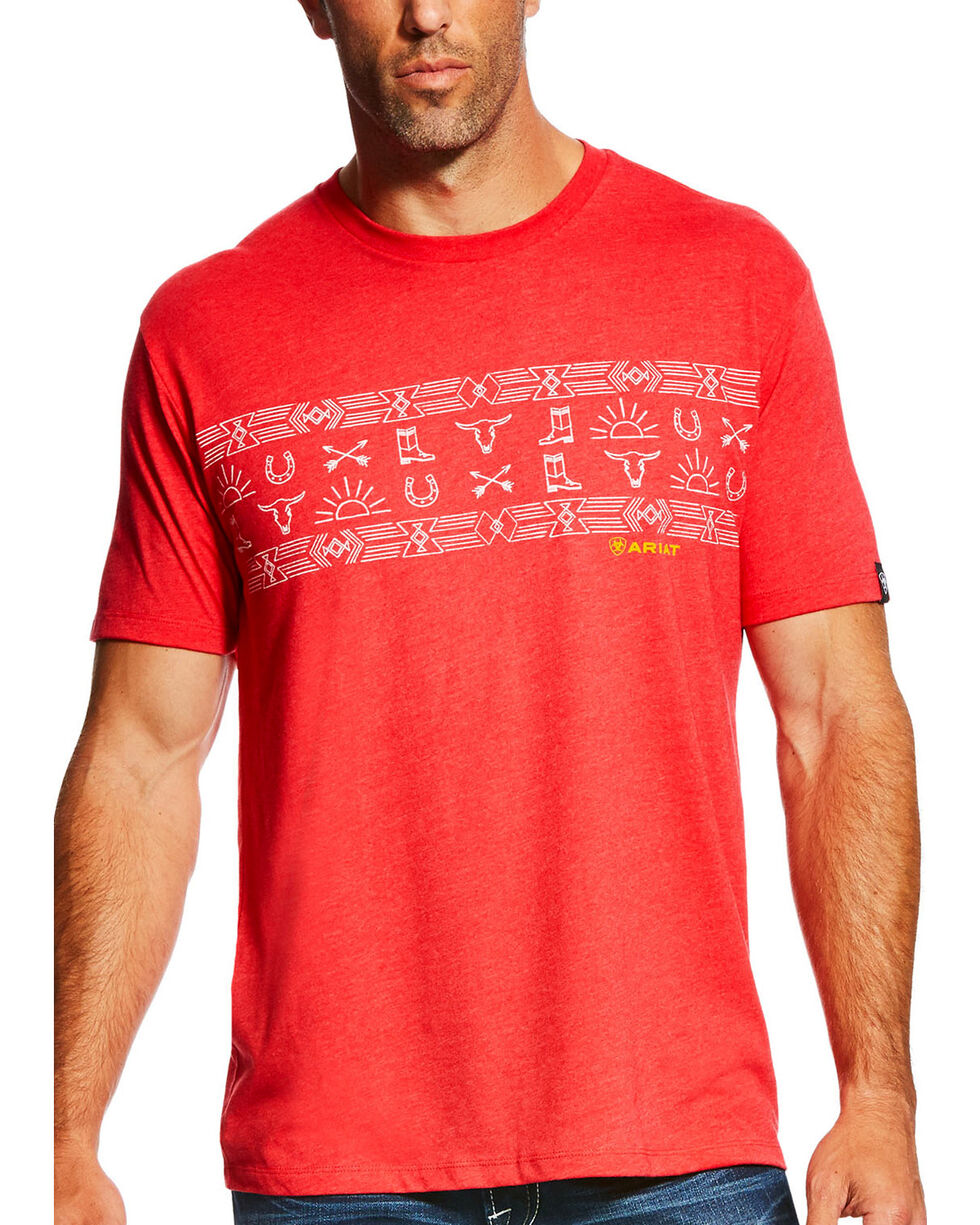 Ariat Men's Red Native Stripe Short Sleeve Tee , Red, hi-res