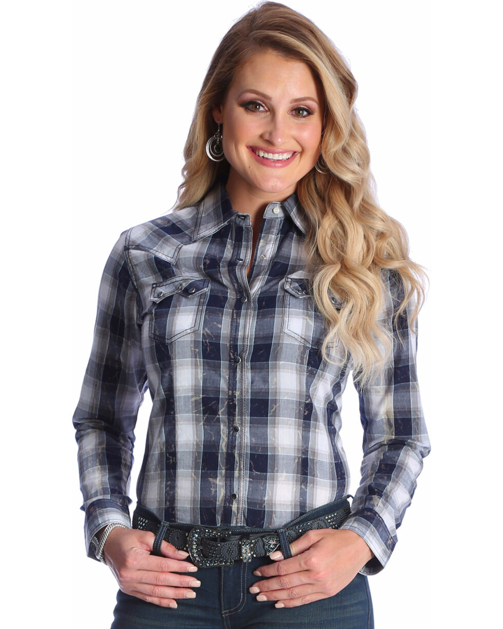 Wrangler Women's Navy Classic Western Plaid Shirt , Navy, hi-res