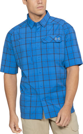 Under Armour Men's Charcoal Grey Fish Hunter Shirt, Blue, hi-res