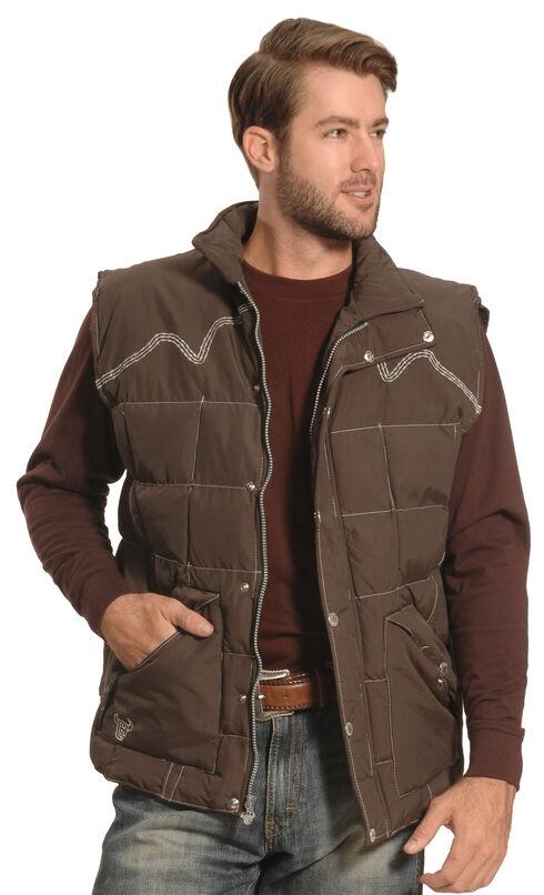 Cowboy Hardware Men's Brown Triple Barbwire Nylon Vest , Brown, hi-res