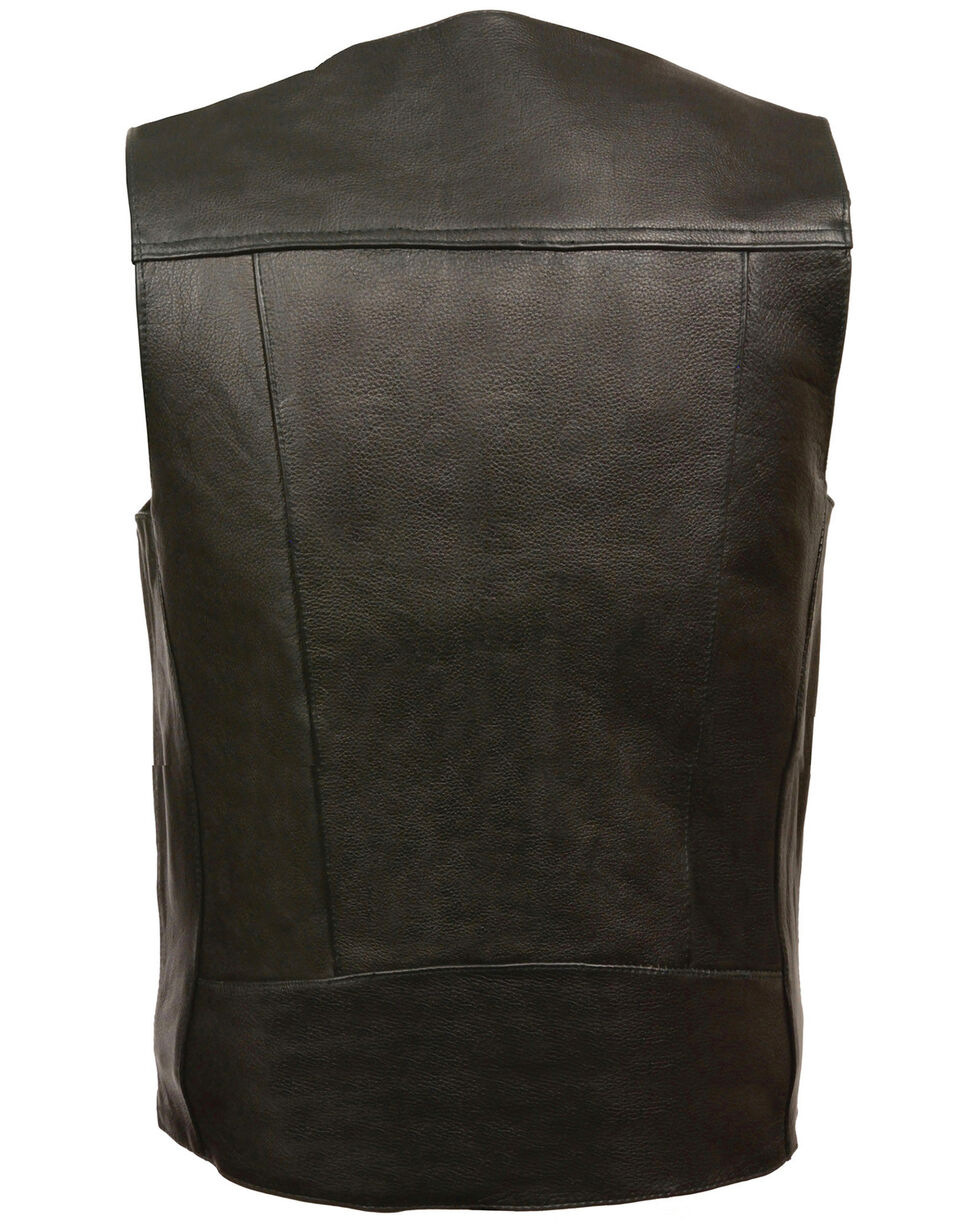 Milwaukee Leather Men's Buffalo Nickel Snap Classic Vest, Black, hi-res