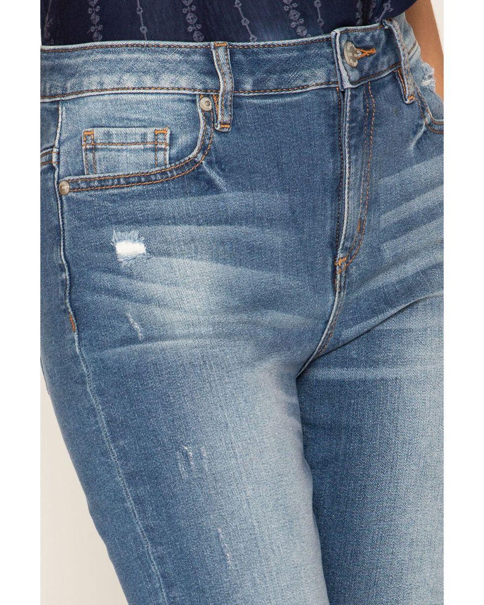 Miss Me Women's Fashion Destructed Studded Ankle Slit Skinny Jeans, Blue, hi-res