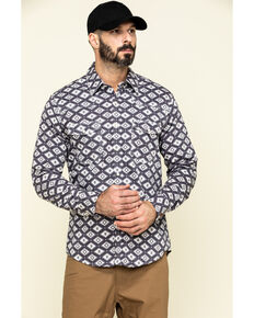Rock & Roll Denim Men's FR Printed Aztec Twill Long Sleeve Work Shirt , Charcoal, hi-res