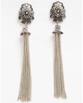 Shyanne Women's Concho Chain Fringe Earrings, Silver, hi-res