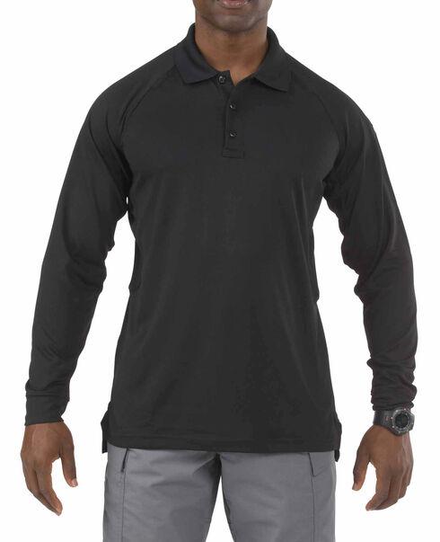 5.11 Tactical Performance Long Sleeve Polo - Tall Sizes (2XT - 5XT), Black, hi-res