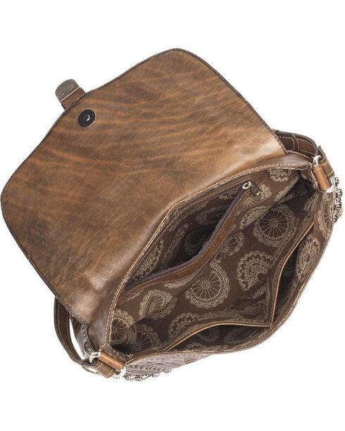 American West Women's Brown Blue Ridge Flap Crossbody Bag , Distressed Brown, hi-res