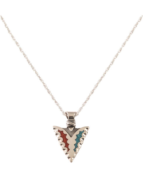 Silver Legends Women's Turquoise and Coral Arrowhead Necklace , Turquoise, hi-res