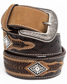 Cody James Men's Diamond Concho Leather Buckle Belt , Brown, hi-res