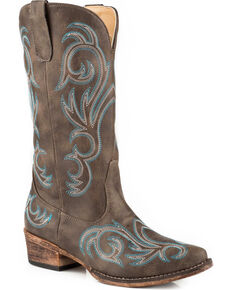 Roper Women's Brown Riley Vintage Western Boots - Snip Toe, Brown, hi-res