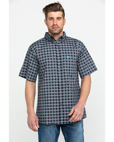 23419d34d7b Cowboy Hardware Mens Jacquard Plaid Short Sleeve Western Shirt