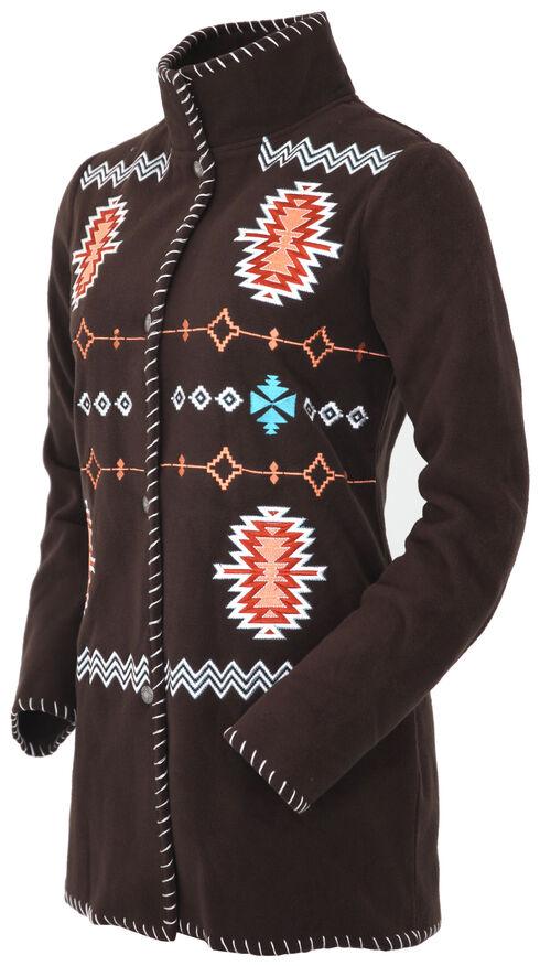 Outback Trading Company Women's Chocolate Aztec Fleece Jacket, Dark Brown, hi-res