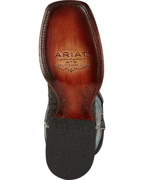 Ariat Vaquera Caiman Belly Cowgirl Boots - Square Toe, Black, hi-res