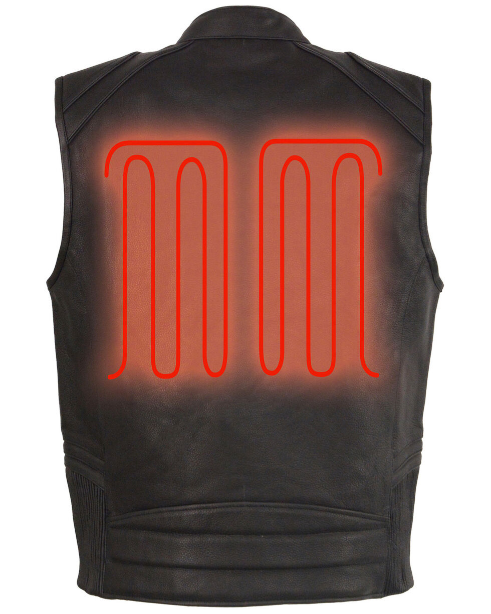 Milwaukee Leather Men's Black Heated Technology Leather Vest - 4X , Black, hi-res