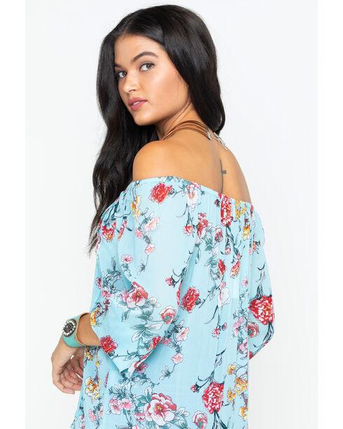 Bila Women's Turquoise Georgette Floral Blouse , Turquoise, hi-res