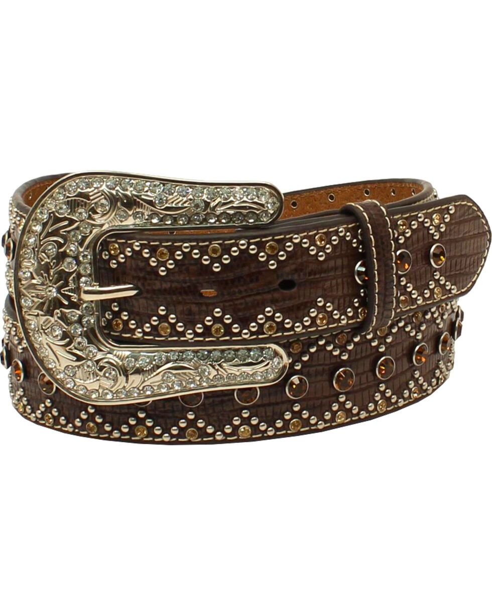 Nocona Women's Rhinestone Nailhead Triangle Western Belt , Brown, hi-res