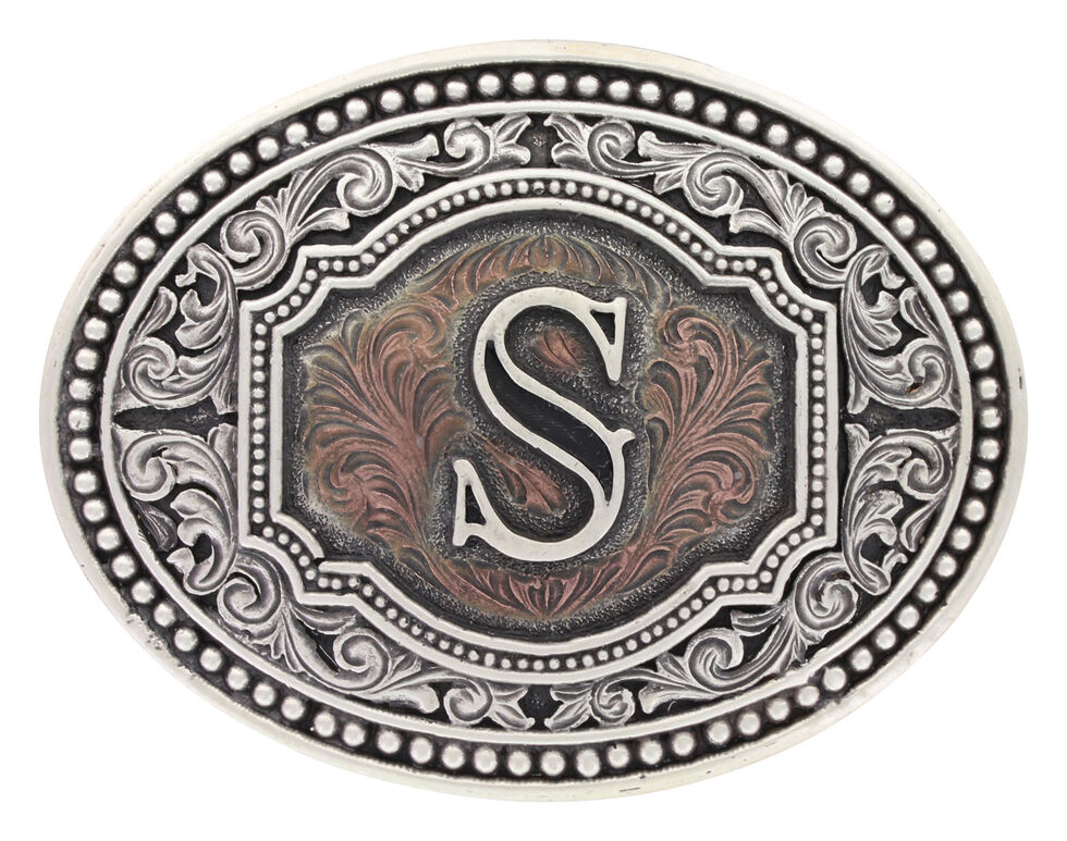 "Montana Silversmiths Men's Initial ""S"" Two-Tone Attitude Belt Buckle, Silver, hi-res"