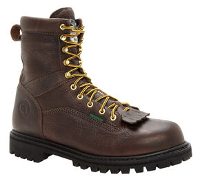 Georgia Waterproof Low Heel Logger Work Boots - Round Toe, Chocolate, hi-res