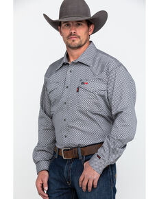 Cinch Men's Grey FR Geo Print Long Sleeve Work Shirt , Grey, hi-res