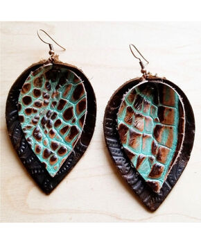 Jewelry Junkie Women's Gator Print Double Stacked Leather Earrings, Multi, hi-res