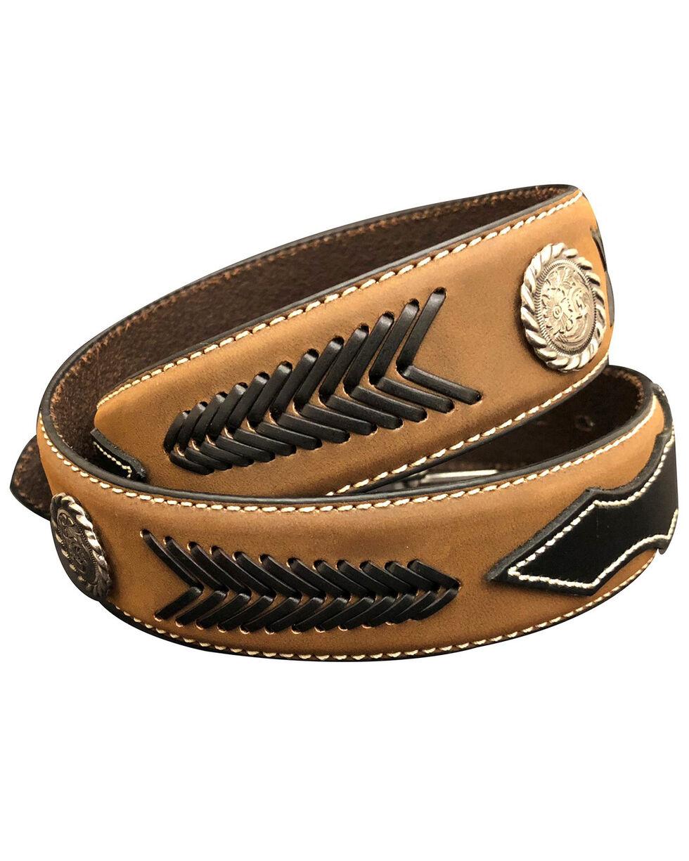 G-Bar-D Men's Brown Laced Distressed Leather Belt , Brown, hi-res