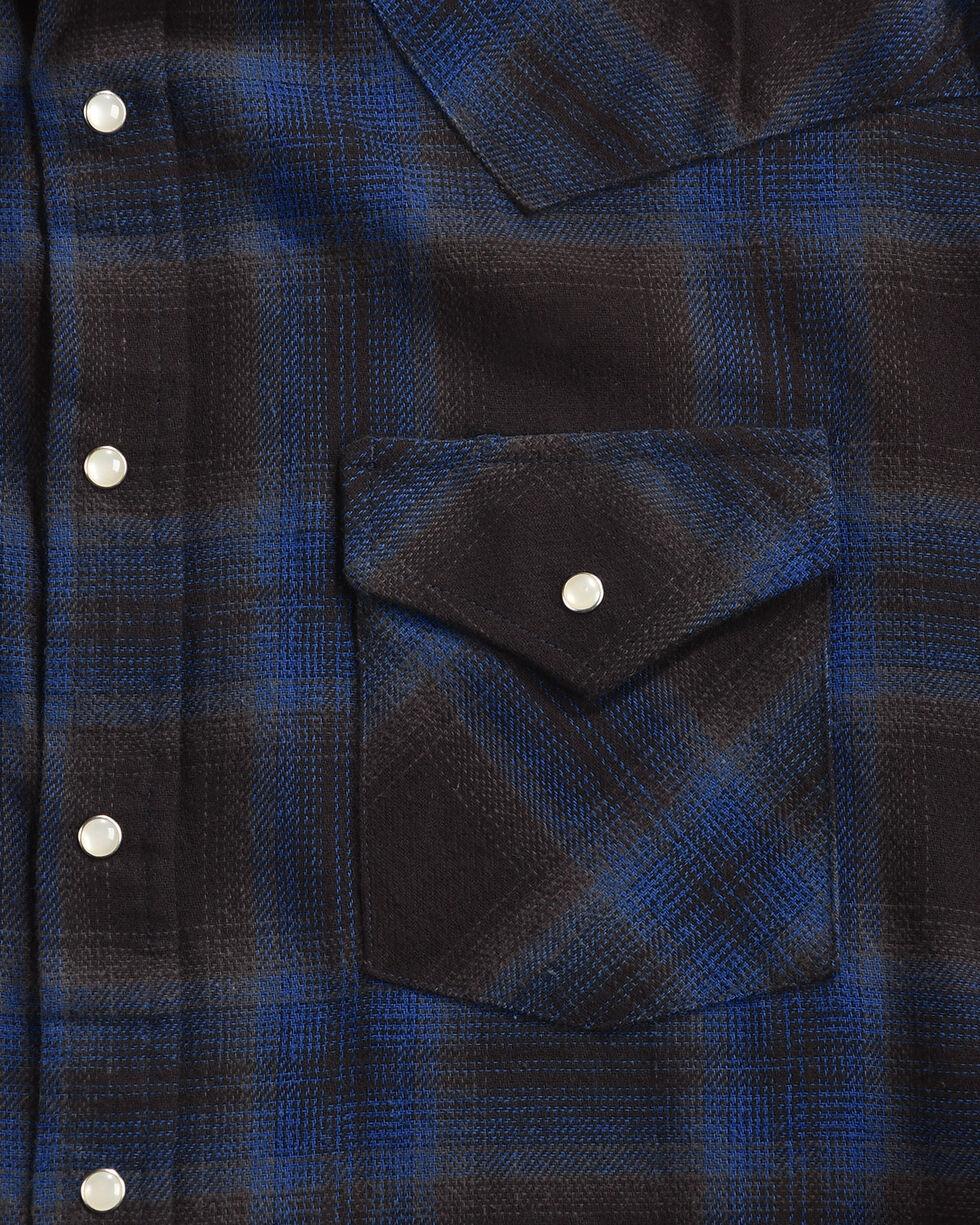 Ely Cattleman Men's Blue Brawny Flannel Long Sleeve Snap Shirt - Tall, Navy, hi-res