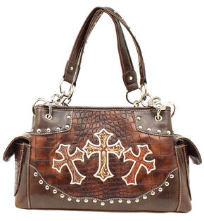 Blazin Roxx Embroidered Crosses Satchel Bag, Brown, hi-res
