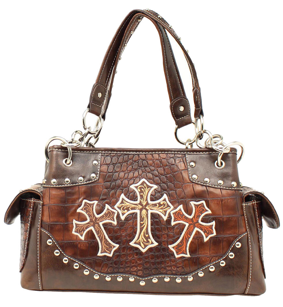 Blazin Roxx Embroidered Crosses Satchel Bag, Brown, hi-res