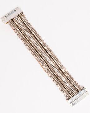 Shyanne Women's Magnetic Leather Cuff Bracelet, Silver, hi-res