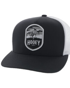 Hooey Men's Black Cheyenne Shield Patch Mesh Ball Cap, Black, hi-res