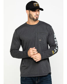 Ariat Men's Rebar Workman Logo Long Sleeve Work Shirt , Charcoal, hi-res