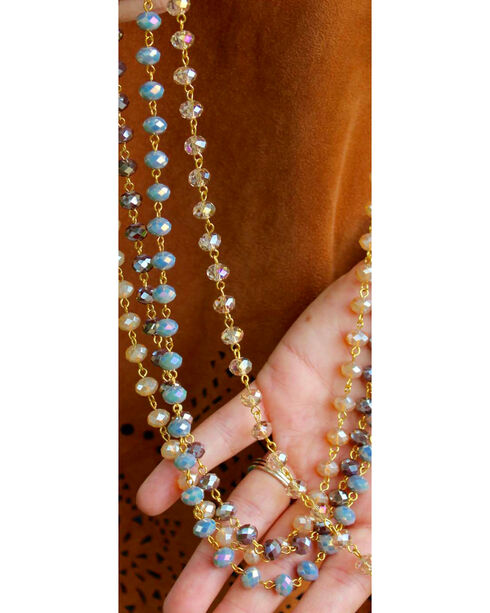2 Queen B's Women's Blue-Grey Crystal Necklace & Earring Set, Blue, hi-res