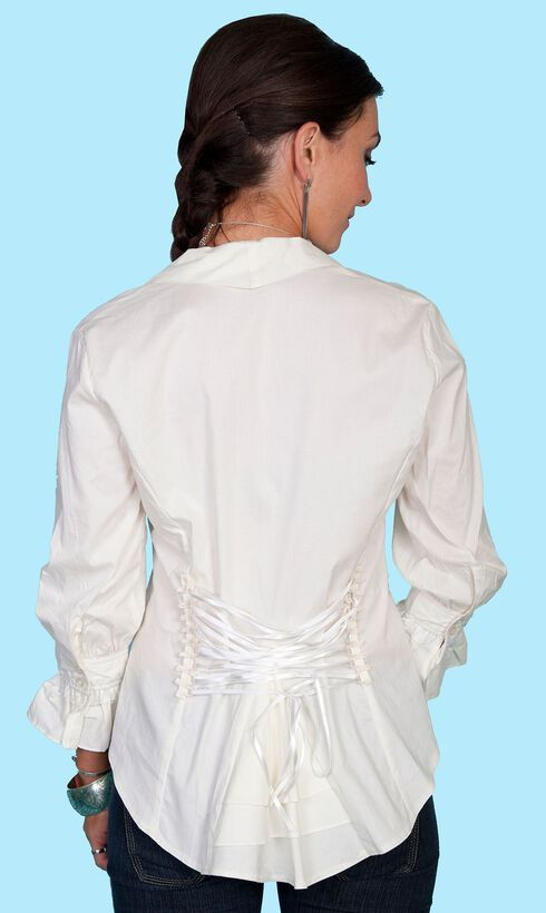 Scully Lace Up Back 3/4 Length Top, Cream, hi-res