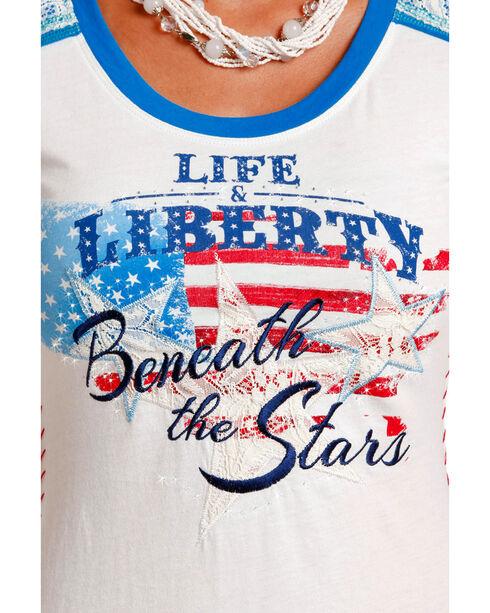 Panhandle Women's Liberty American Flag Tee , White, hi-res