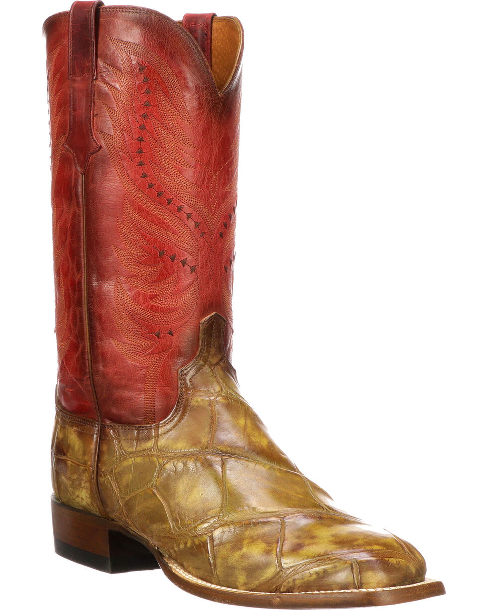 Lucchese Men's Handmade Troy Cognac Giant Gator Western Boots - Square Toe, Cognac, hi-res