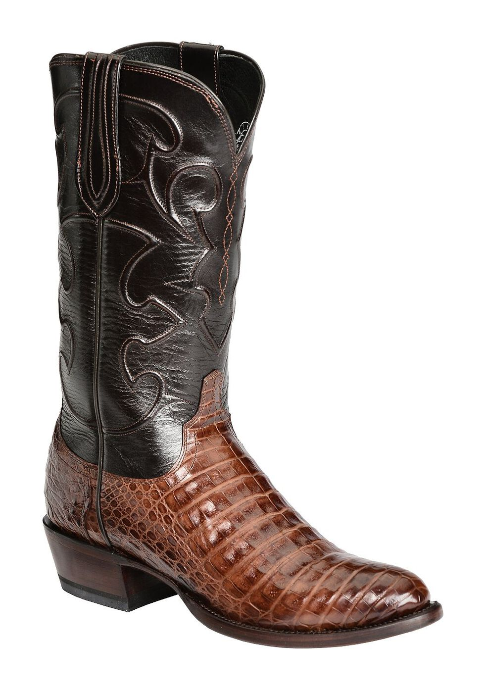Lucchese Handmade 1883 Caiman Belly Cowboy Boots - Round Toe, Sienna, hi-res