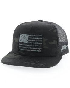 HOOey Men's Camo Black Liberty Roper Flag Patch Mesh Cap , Camouflage, hi-res