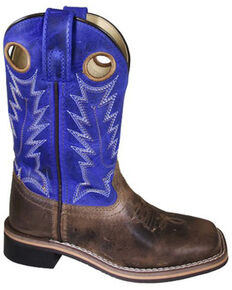 Smoky Mountain Boys' Dusty Western Boots - Square Toe, Brown, hi-res