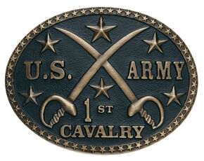 AndWest Men's U.S. Army 1st Cavalry Belt Buckle, Brass, hi-res