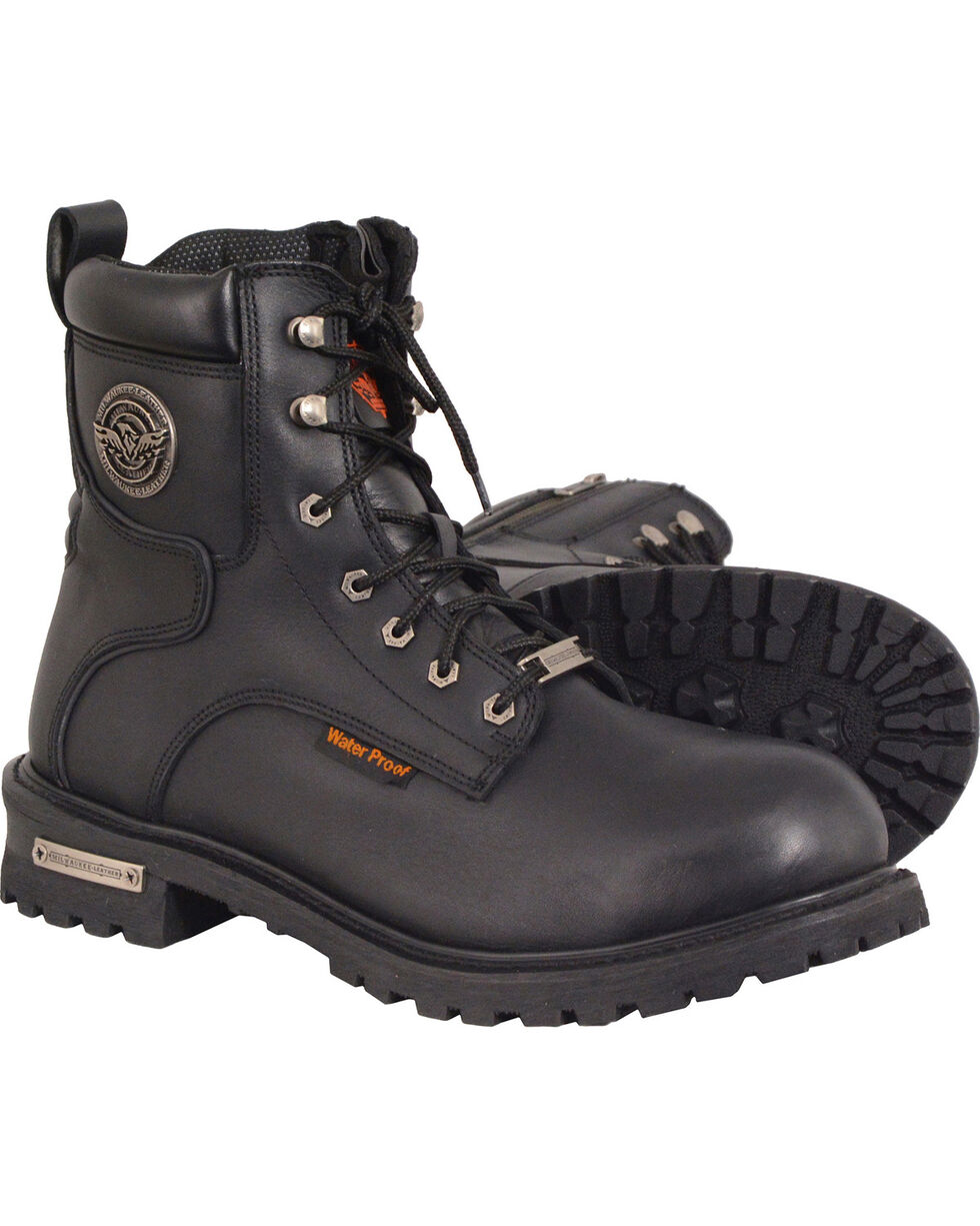 Milwaukee Leather Men's Black Waterproof Logger Boots - Round Toe , Black, hi-res