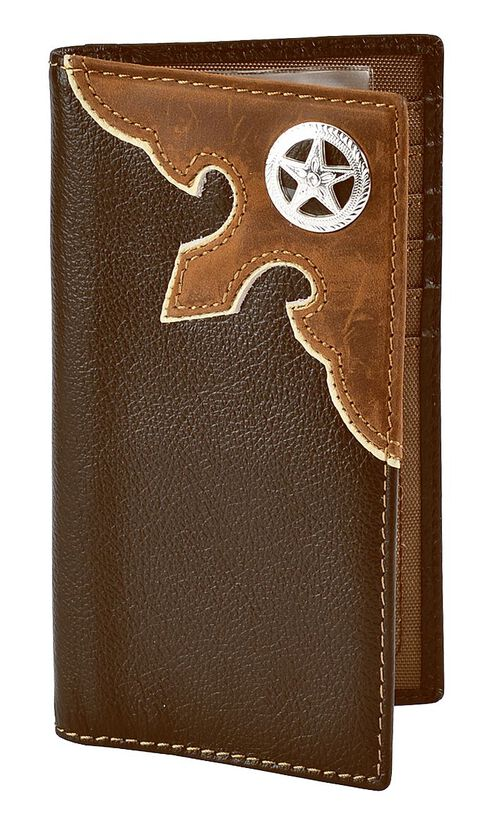 Nocona Leather Overlay Star Concho Wallet Checkbook, Brown, hi-res