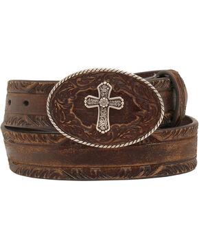Nocona Women's Cross Buckle Leather Belt, Brown, hi-res