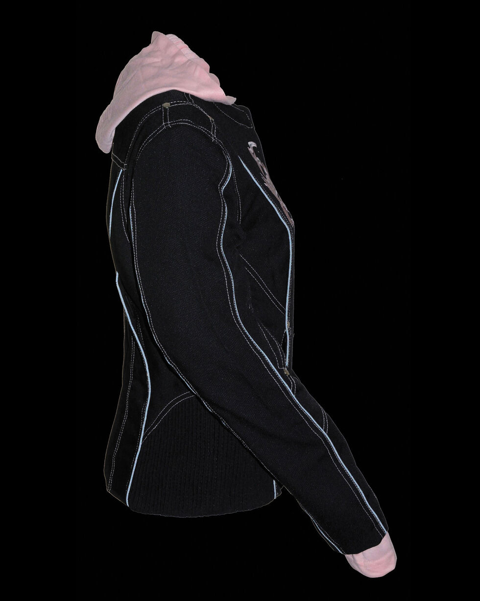 Milwaukee Leather Women's 3/4 Jacket With Reflective Tribal Detail, Pink/black, hi-res