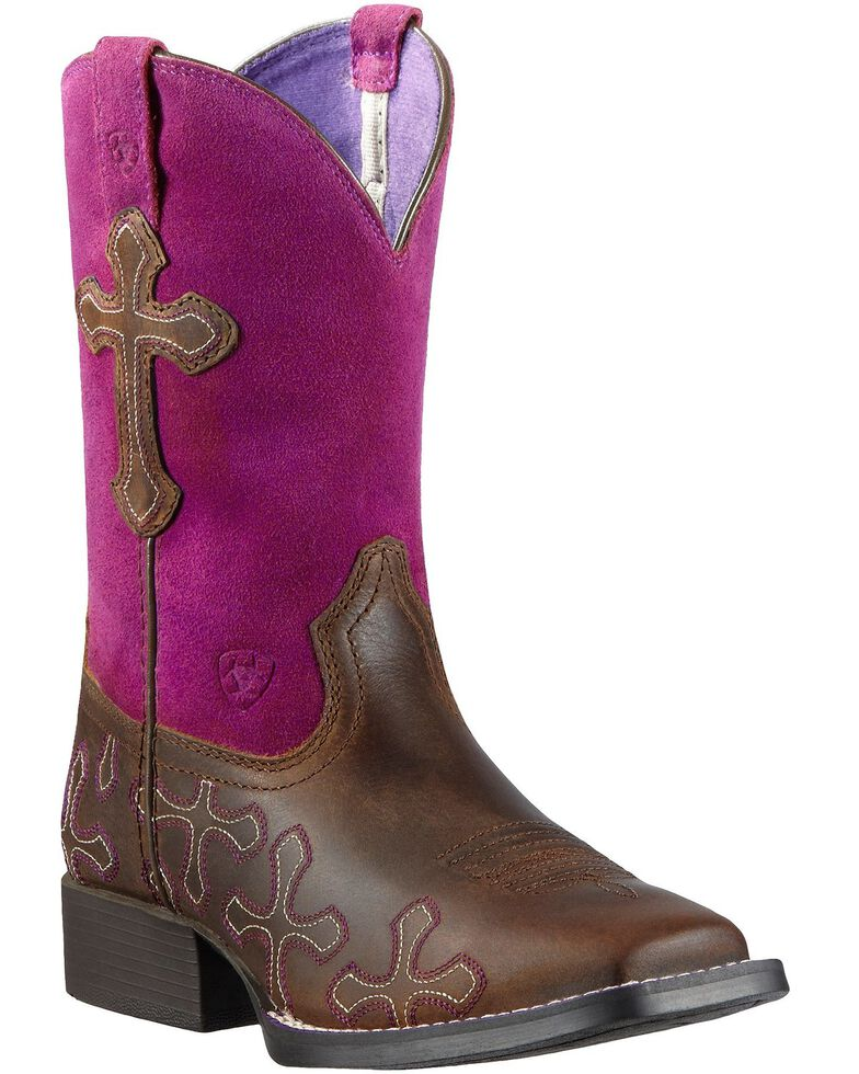 Ariat Girls' Crossroads Cowgirl Boots - Square Toe, Tan, hi-res